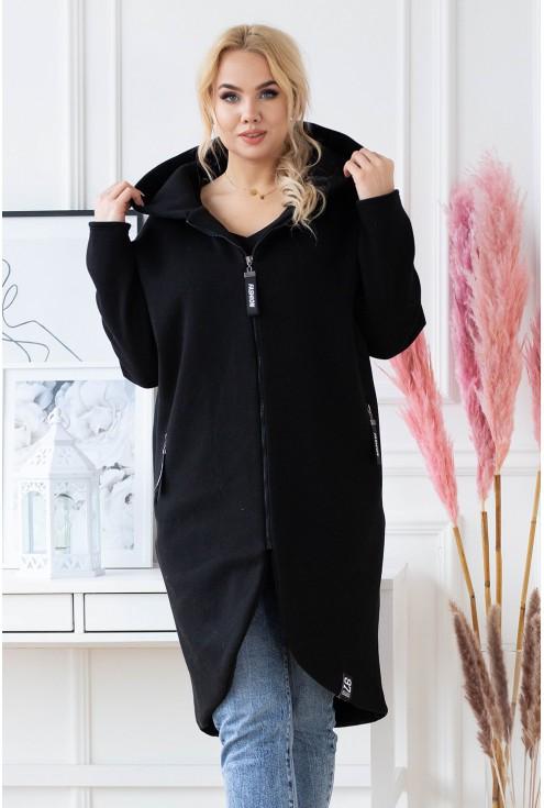 czarny  płaszczyk  plus size