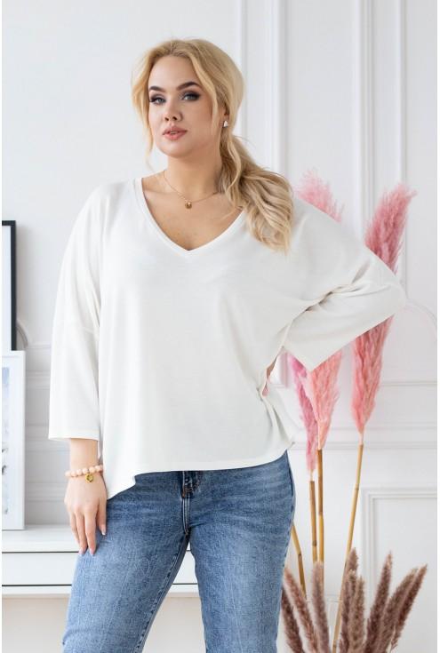kremowy sweterek plus size z dekoltem V