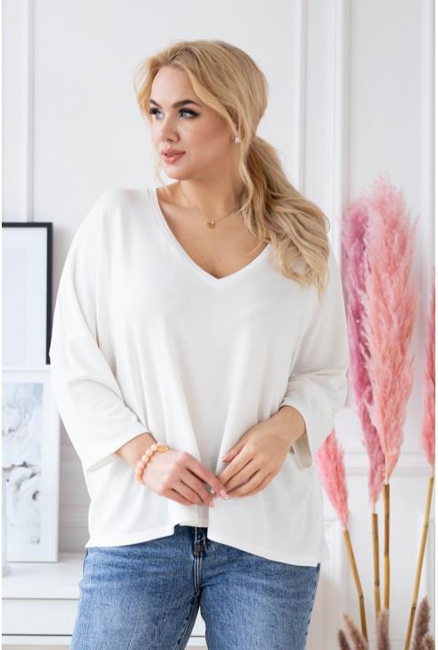 kremowy cienki sweter plus size