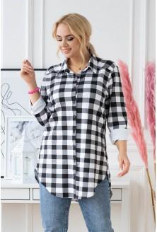 Dresowa koszulo tunika w biało-czarną kratę plus size duże rozmiary w XL-ce
