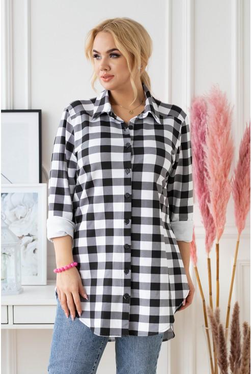 Koszula/tunika dresowa plus size w biało-czarną kratę - ANICA