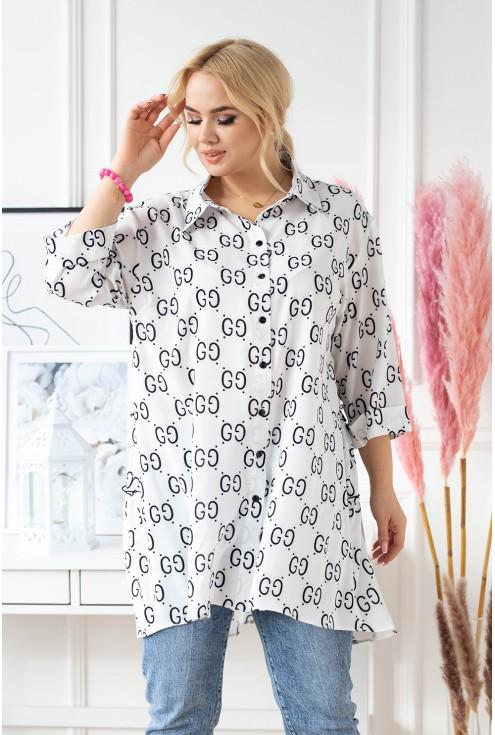 Biała koszula tunika plus size z czarnym wzorem - ROSALIE