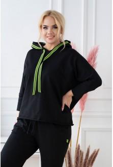 czarny dres plus size z neonową ozdobną taśmą