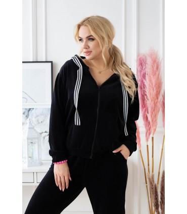 Czarny welurowy dres plus size z rozpinaną bluzą - zestaw - ZUZANA