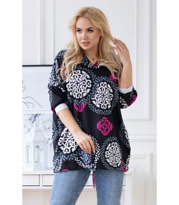 Czarna bluza z kapturem plus size w kolorowe mandale - PRALINE