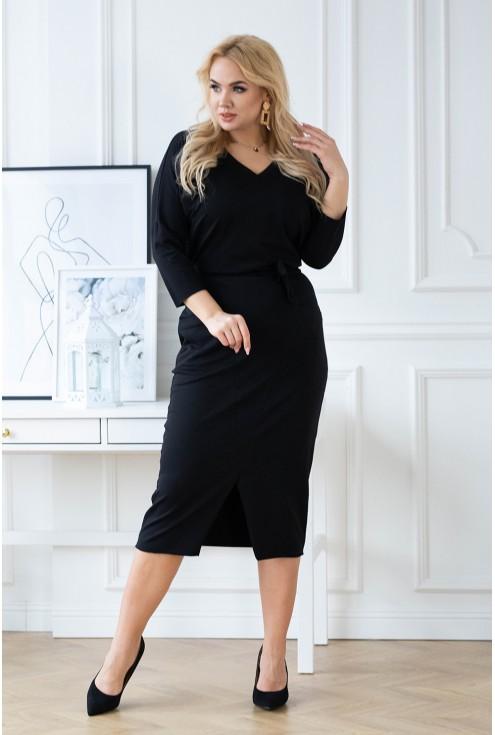 czarna ołówkowa sukienka plus size