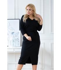 Czarna dresowa ołówkowa sukienka plus size - ROSMARY