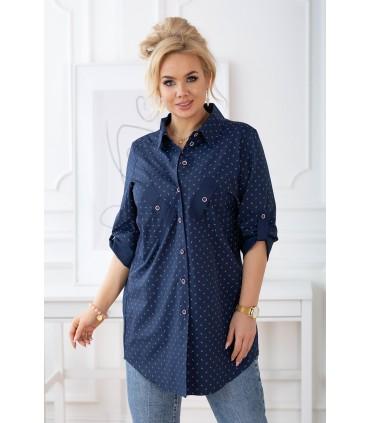 Granatowa koszula z modnym wzorkiem z podwijanymi rękawami od M do 4XL - SINDI