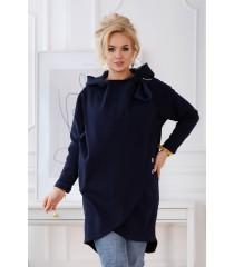 Granatowa ciepła bluza plus size z kapturem - NEVA