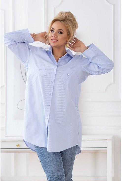 biało-niebieska koszula plus size