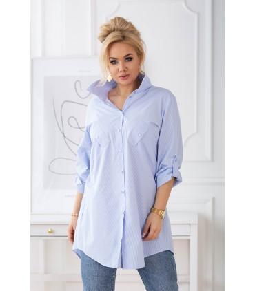 Długa biało-niebieska koszula w paski plus size z podwijanymi rękawami - SINDI