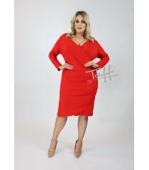Czerwona sukienka z marszczeniem po boku - ARCHI