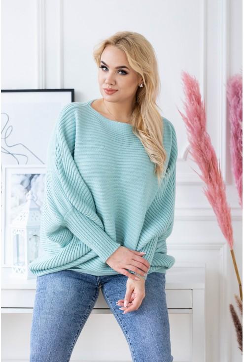 morski sweterek kimonowy rękawek plus size