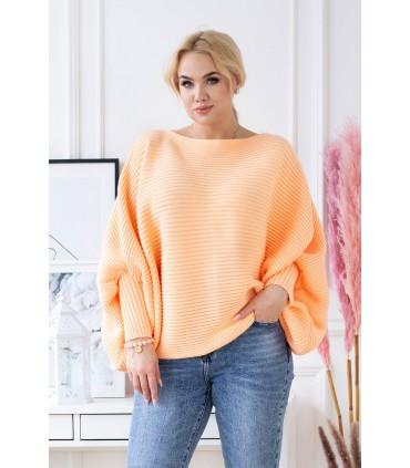 Pomarańczowy sweterek z poziomym splotem - PEYTON