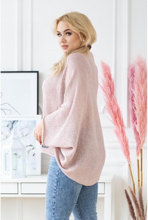 pudrowy kimonowy sweter xxl
