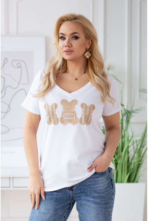 biały t-shirt plus size z misiem