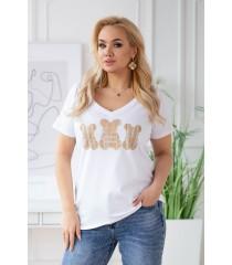 Biały t-shirt z krótkim rękawem - wzór misie - SASHA