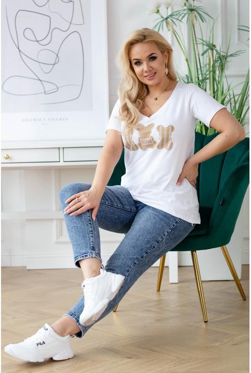 biały t-shirt ze złotem xxl