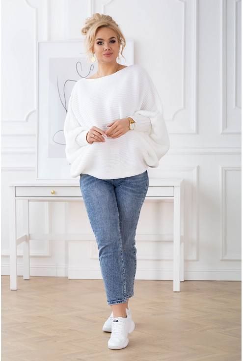 biały ciepły sweter Peyton