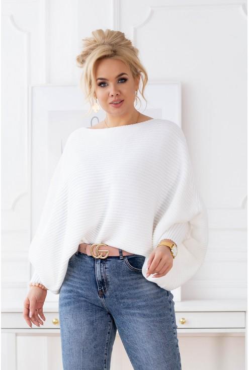 sweter z poziomym splotem plus size