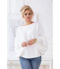 Biały sweterek z poziomym splotem - PEYTON