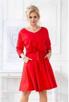 Czerwona rozkloszowana sukienka plus size z gumką w pasie - CATI