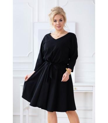 Czarna rozkloszowana sukienka plus size z gumką w pasie - CATI