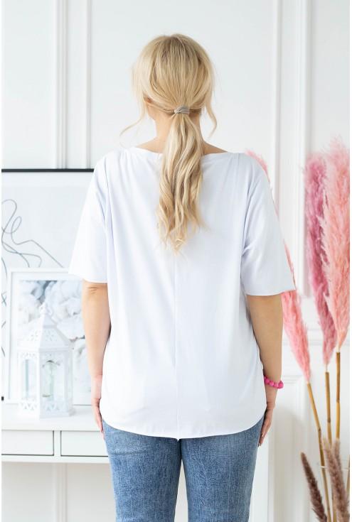 Biała bluzka z dekoltem w serek z nadrukiem - BRILLANT