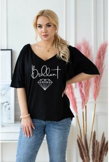 Czarna bluzka xxl z napisem