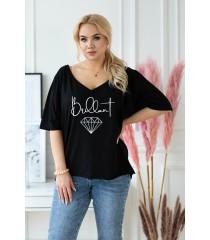 Czarna bluzka z dekoltem w serek z nadrukiem - BRILLANT