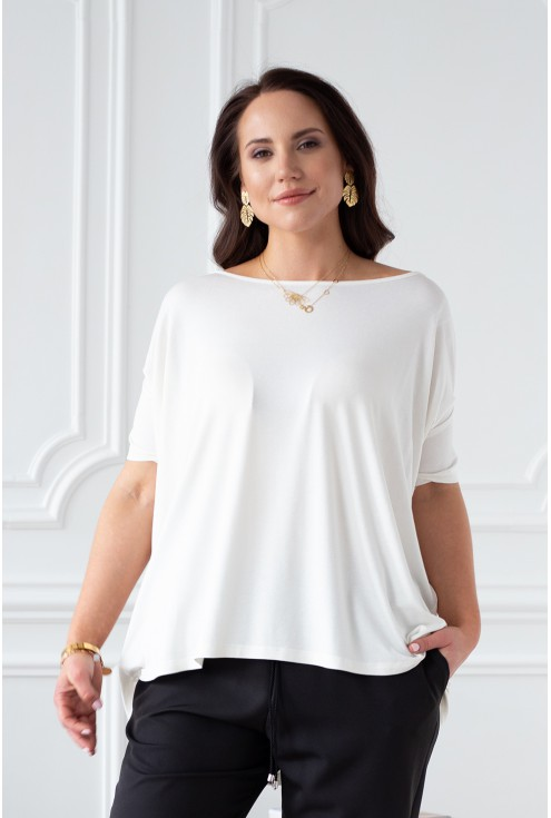 Bluzka oversize - kremowa biel - DAGMARA