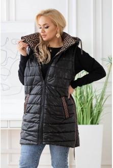 czarna kamizelka plus size z modnym karmelowym wzorem i z kapturem - XL-ka