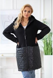 czarna bluzokurtka plus size z kapturem - do kupienia w dużych rozmiarach