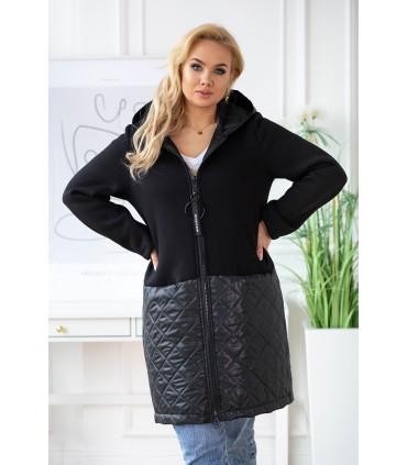 Czarna bluzo-kurtka plus size z łączonych materiałów - JOLLY