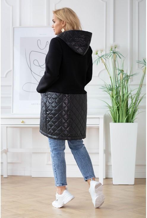 czarna bluzokurtka plus size z łączonych materiałów - duże rozmiary