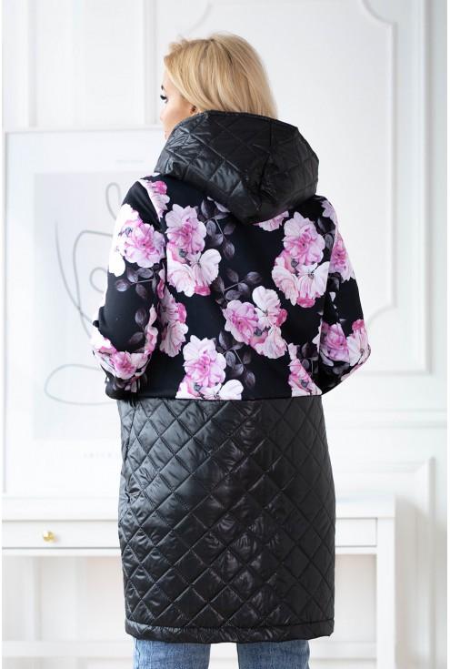wiosenna bluza w kwiaty pikowana plus size