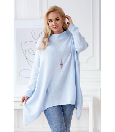 Jasnoniebieski sweterek z przetarciami i ćwiekami - MERLIN
