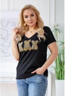 czarny t-shirt z nadrukiem złote misie