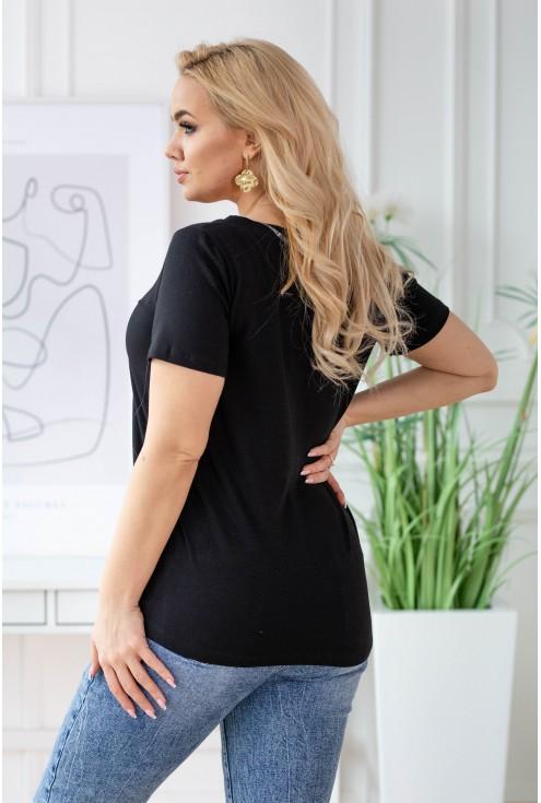 Czarny t-shirt z krótkim rękawem - wzór misie - SASHA