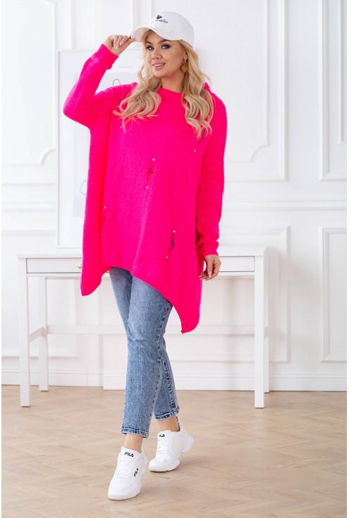 Różowy sweterek oversize