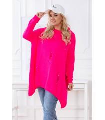 Różowy neon sweterek z przetarciami i ćwiekami - MERLIN