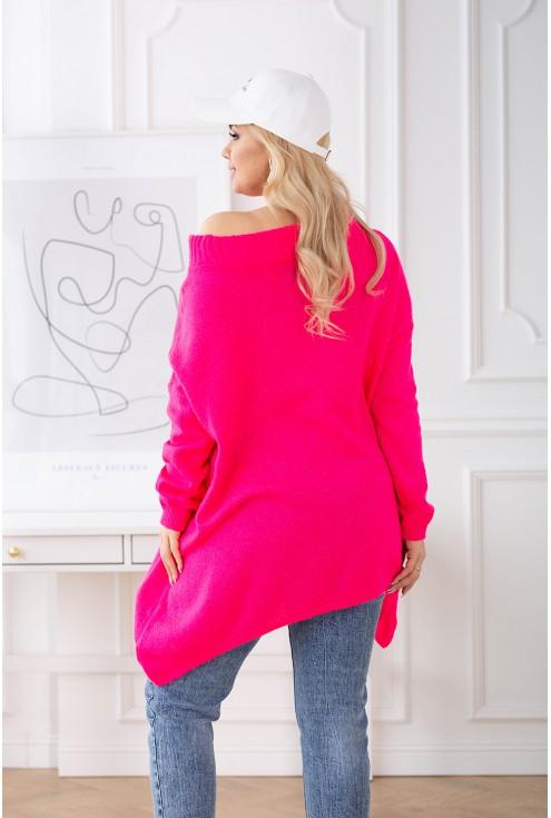 Różowy neon sweterek xxl