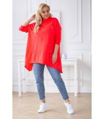 Pomarańczowy neon sweterek z przetarciami i ćwiekami - MERLIN