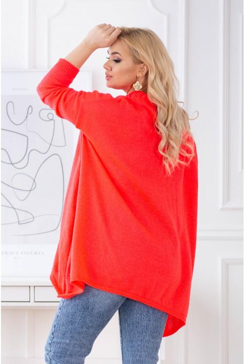 Pomarańczowy neon sweter plus size
