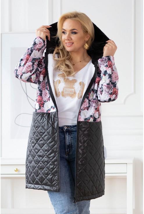 bluzo-kurtka w róże z łączonych materiałów