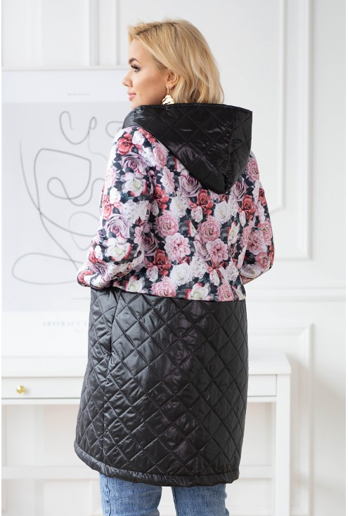 Czarna bluzo-kurtka w róże z łączonych materiałów - JOLLY