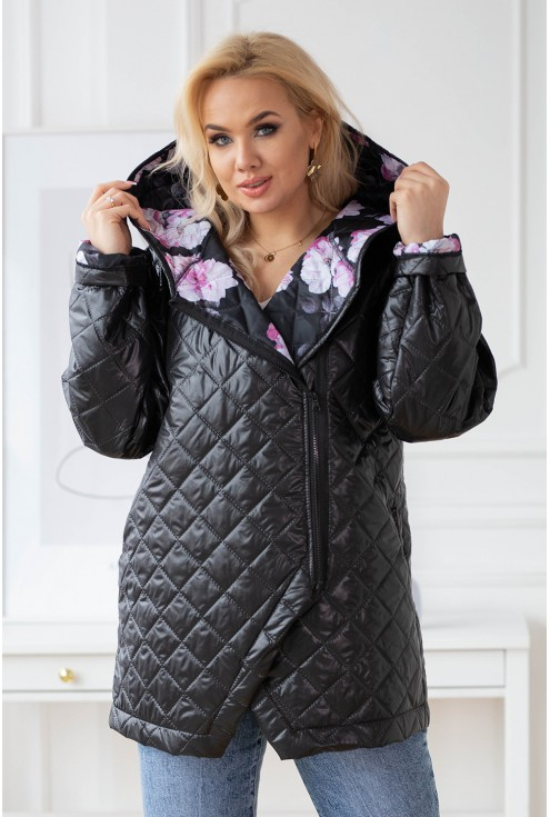 pikowana kurtka z kapturem z kwiatową podszewką