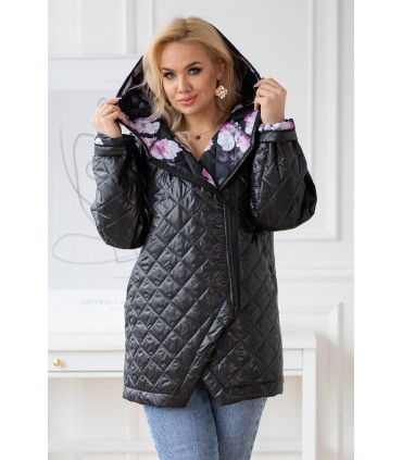 Czarna pikowana kurtka z kapturem - SISSY