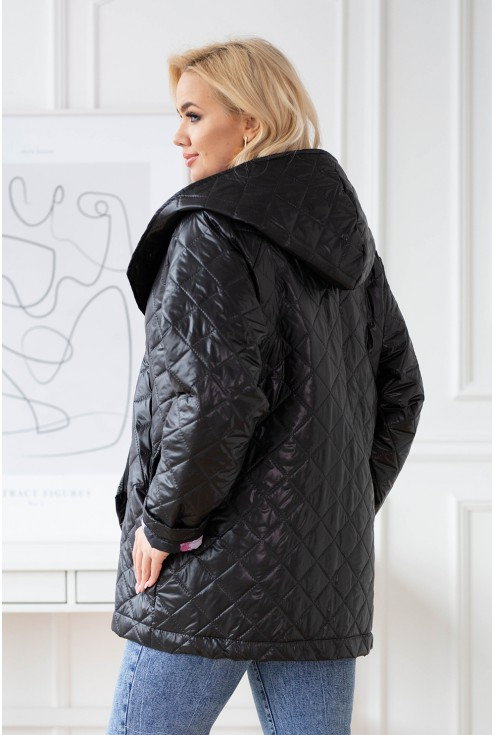 Czarna pikowana kurtka z kapturem xxl