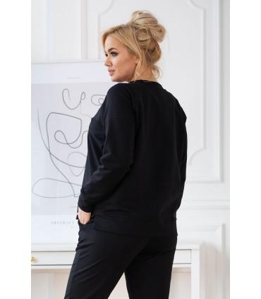 Czarna bluza oversize z rozcięciem po bokach - DENA